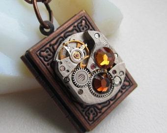 Steampunk book locket necklace with watch movement Swarovski crystals Birthday women gift ideas photo locket necklace Cooper locket