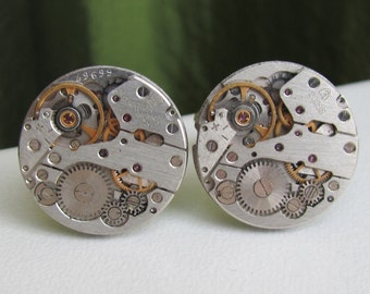 Steampunk Cufflinks with mechanical watch movements Elegant cufflinks Gifts for Men Mens gift ideas Gifts for Guys Mens jewelry Cuff links