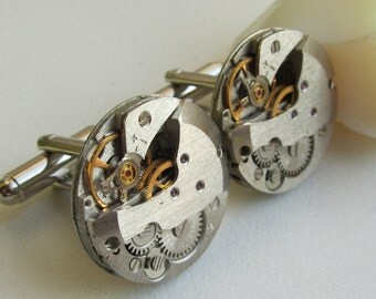 Steampunk Cufflinks with watch movements Birthday gift Mens gears Upcycled mens Cuff Links Mens gift ideas Gift for Him mens accessories