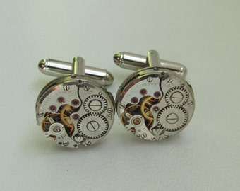 Steampunk Cufflinks with the smallest round vintage watch movements. Vintage upcycled mens Cuff Links, Gift under 40 Dollars