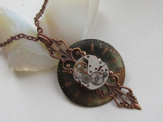 Steampunk Gothic necklace - with the smallest  vintage watch movement, filigree setting and vintage watch face