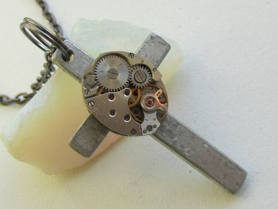 Steampunk  Gothic Cross necklace - with vintage watch movement and small vintage cross