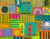 SALE abstract collage on canvas 11 x 14 impasto modern ORIGINAL ART by Elizabeth Rosen
