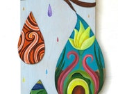 SALE Abstract Rain drops tears cut out wood ORIGINAL PAINTING  by Elizabeth Rosen