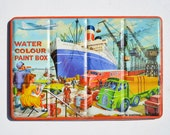 Vintage Tin Toy Litho Water Colour Paint Box - Page of London, made in England  offered by Elizabeth Rosen