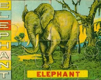 vintage elephant, vintage puzzle, elephant illustration, paper lithography, antique animal puzzle, from Elizabeth Rosen