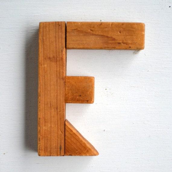 vintage sign letter F, typography, wood sign letter, upper case F from Elizabeth Rosen