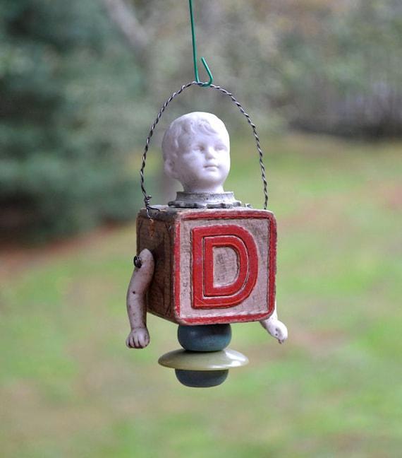 original vintage antique ornament german bisque doll parts letter D, vintage childrens block  by Elizabeth Rosen