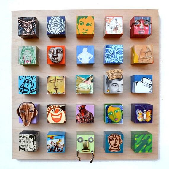 BLOCKHEADS, Original Art, modern wooden CUBES vintage toy parts pop folk art 25 portraits wood metal by Elizabeth Rosen