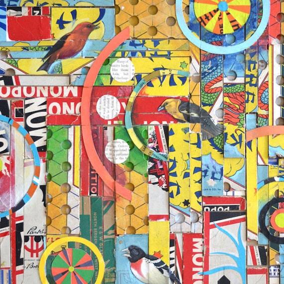 bird games  ORIGINAL COLLAGE  16x30 big vintage game boards  by Elizabeth Rosen
