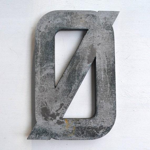 """vintage sign letters, typography, BIG 16"""" Danish sign letter O slash iron offered by Elizabeth Rosen"""