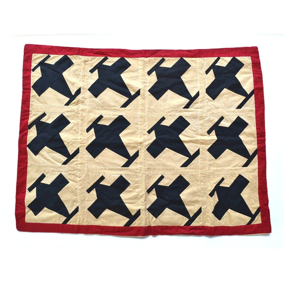 vintage quilt airplanes black white red 27x37 folk art quilt  offered by Elizabeth Rosen