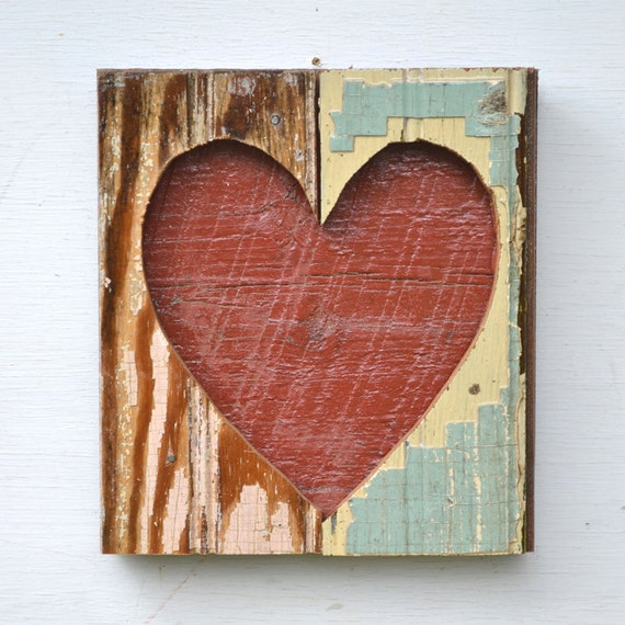 heart art primitive shabby chic OPEN HEARTED chippy paint architectural salvage  ORIGINAL by Elizabeth Rosen