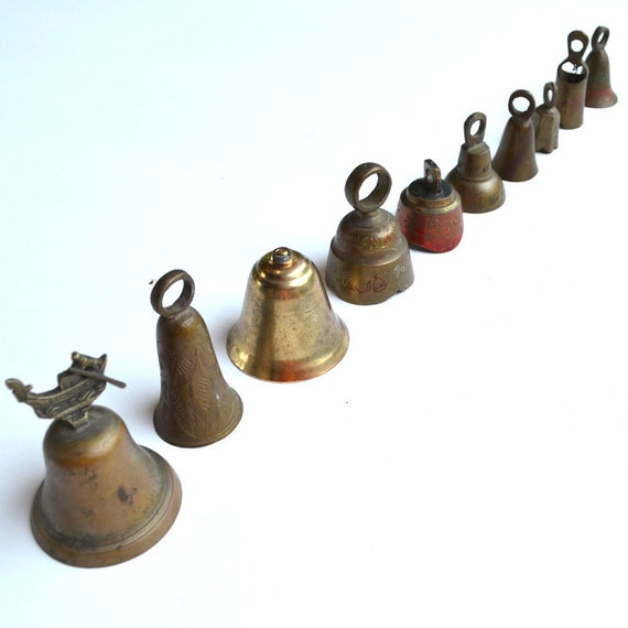 10 vintage Indian brass jingle bells architectural salvage INSTANT COLLECTION  offered by Elizabeth Rosen