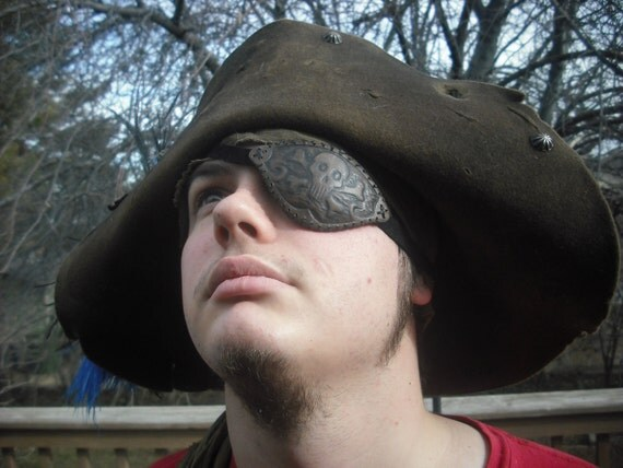 Leather Eyepatch Pirate Steampunk Jolly Roger Skull Crossbones Eye Patch
