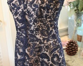 1950's Navy Blue Lace Sleeveless Cocktail Dress