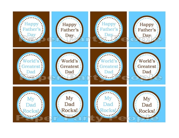 Father's Day Printable DIY 2 inch Cupcake Toppers, Favor Bag Tags, Stickers, Confetti - Blue & Brown