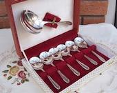Vintage Sheffield De Montfort Spoon Set Silver Plate