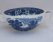 Wedgwood Woodland China,  Enoch Wedgwood (Tunstall), Cream Soap Handled Bowl, Blue and White China, 1960s, UK Seller