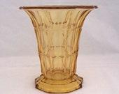 Amber Art Deco Glass Vase, 1930s, 1940s Vase, Retro Amber Glass Vase