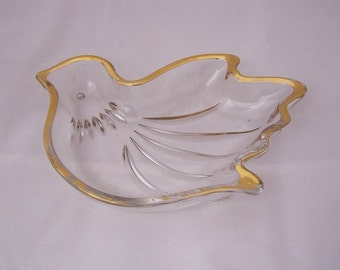 Vintage Glass Gold Rimmed Bird Candy Dish, Clear Glass Candy Dish, Vintage Candy Dish