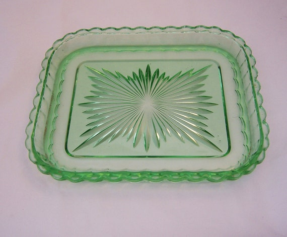 Vintage Green Depression Glass Tray, Home Decor, Art Deco Glass, 1930s, 1940s