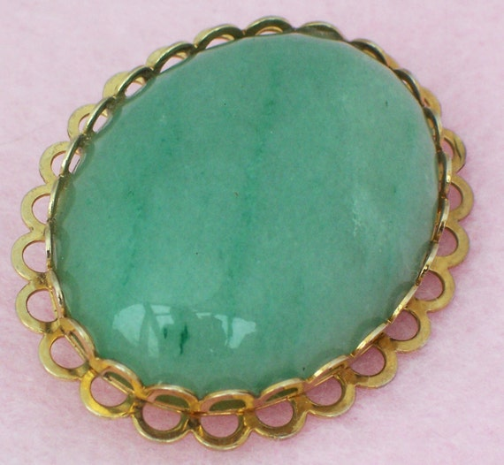 Vintage Green Gemstone with Gold Specks Brooch, Aventurine Brooch