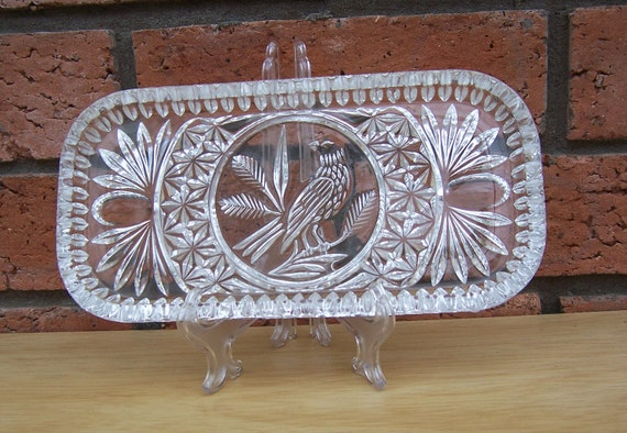 Vintage Hofbauer Byrdes Crystal Tray, Vintage Crystal, Vintage Home Decor, UK Seller