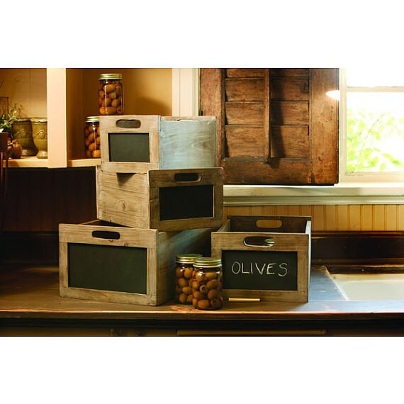 Items similar to rustic wood chalkboard wine crate small for Small wine crates