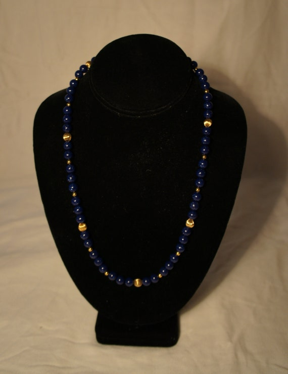 SALE Handmade Blue and Gold Beaded Necklace
