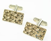 Vintage 800 Silver Cufflinks with Gold-Plated Mid Century Design - Scandinavian Cufflinks - Men's Accessory Jewelry Square Silver Cuff Links