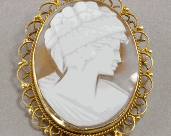 Vintage Italian Shell Cameo Brooch, Pin or Pendant in 800 Silver Setting - Woman with Flowers in her hair - Woman's Profile Pendant