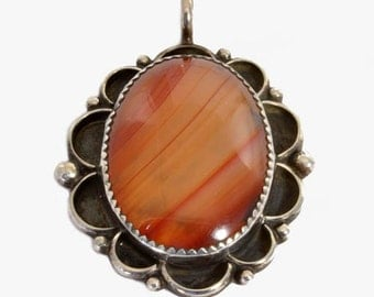 Vintage Native American Sterling Silver Pendant with Agate - Signed and Marked IHMJ - Orange Agate Necklace Pendant, 925 Silver Jewelry