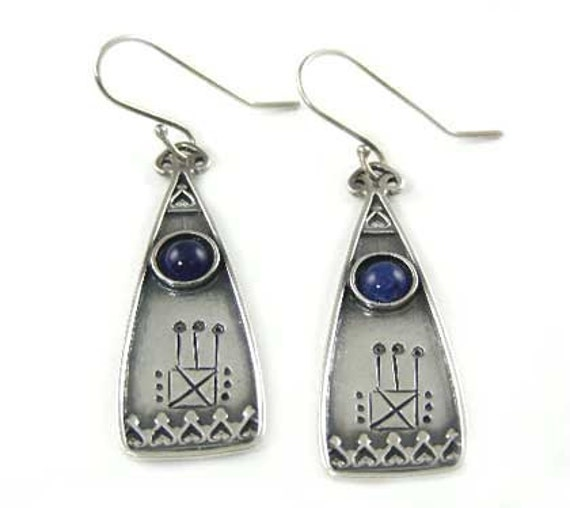 Vintage Sterling Silver Pierced Earrings with Blue Accent Stones - Signed