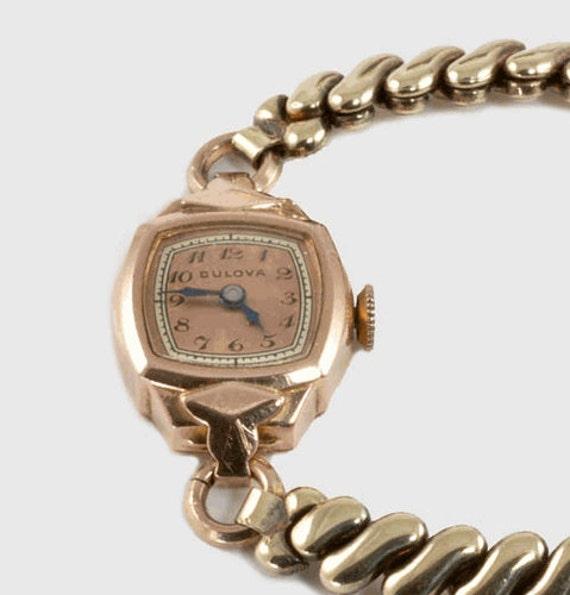 vintage bulova 1940 s pink gold filled