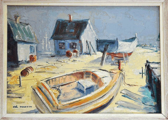 Vintage Mid-Century Oil Painting - Beach with Cat Boat and Boathouse - Signed Cal Martin