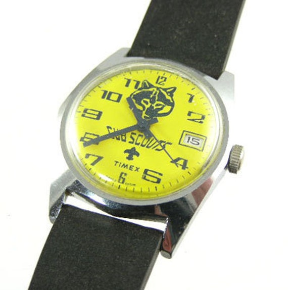 Vintage Character Watch - 1978 Timex Mechanical Cub Scout Watch - Yellow Dial