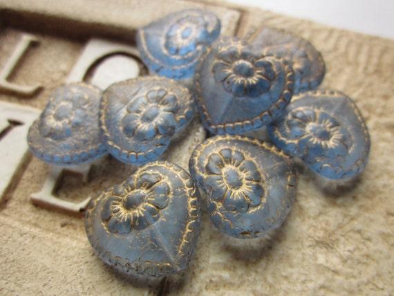 Czech Glass Victorian Heart Beads Sapphire Matte with Gold Inlay 18mm Qty 8