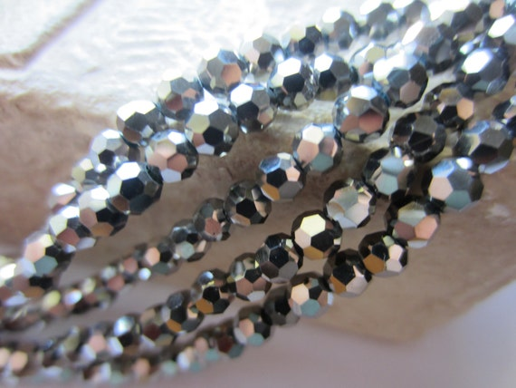 Glass Crystal Beads Thunder Polish Crystals 4mm Round Silver 1 Strand 100 Beads