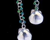 Silver Shell and Glass Bead earrings