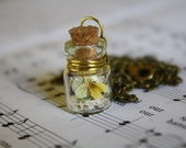 SALE Delicate glass bottle necklace : tiny purple yellow and white viola and oak moss OOAK