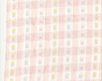 3 yds Pink and White Heirloom Embroidered Fabric