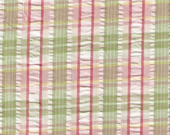 Pink, Green, and White Dan River 62in Seersucker Fabric - 1 yard