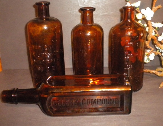 Old Bottles Amber Paine's Liquid zone Medicine Apothecary