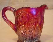 Indiana Red Heirloom Carnival Glass Sugar & Creamer Set