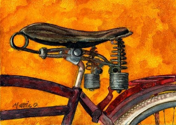 """Bike Art - Greeting Card (5"""" x 7"""") -  Antique Bike Seat -  """"Simple Elegance"""" - BikeLoversAlley, by Mattie O."""