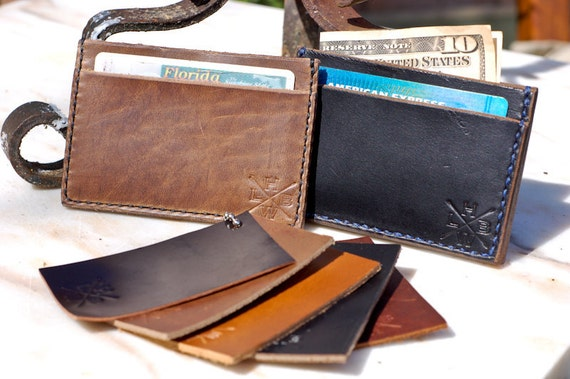 Horween Chromexcel Leather cardholder wallet -  three pocket