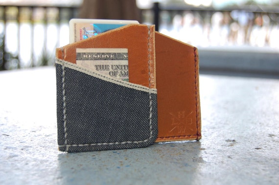 Horween Chromexcel and Cone Denim Money Clip Alternative cardholder