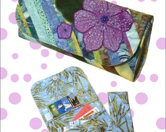 Bella Wallet pattern,paper version large appliqued wallet with removeable change purse by Cool Cat Creations