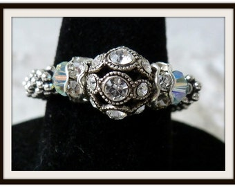 Gemstone Stretch Ring, Adjustable, Sterling Silver Swarovski Filigree, Stretch Wedding Ring, April Birthstone, Birthday Gift for Mom
